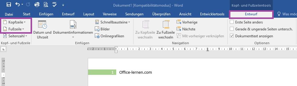 Registerkarte Entwurf - Office-Lernen.com