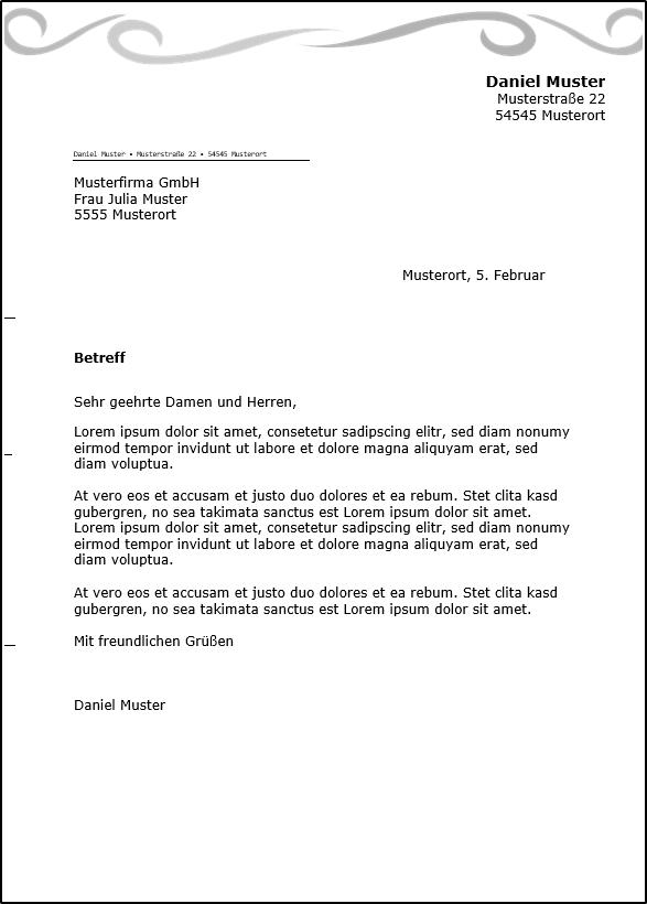 Briefvorlage Privat Office Lernencom