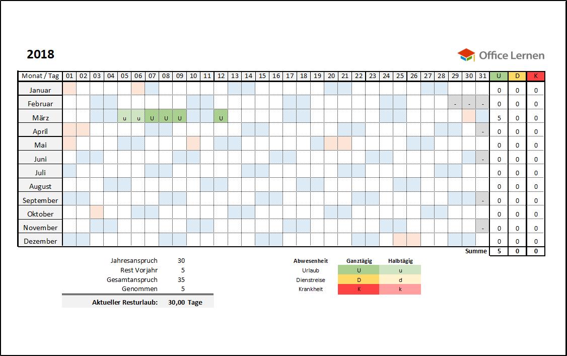 Kostenlose Excel-Urlaubsplaner Vorlagen 2018 - Office-Lernen.com