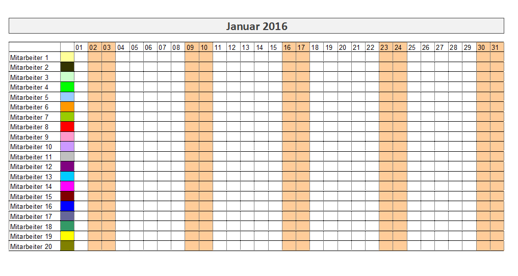 urlaubsplaner excel 2016 kostenlos calendar template 2016