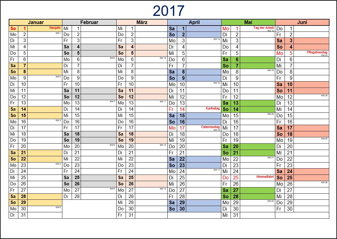 Halbjahreskalender 2017 (2