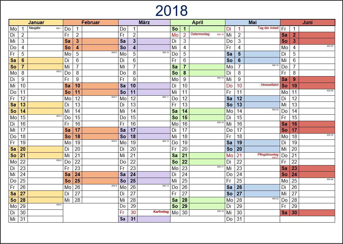 2018 kalenderwochen