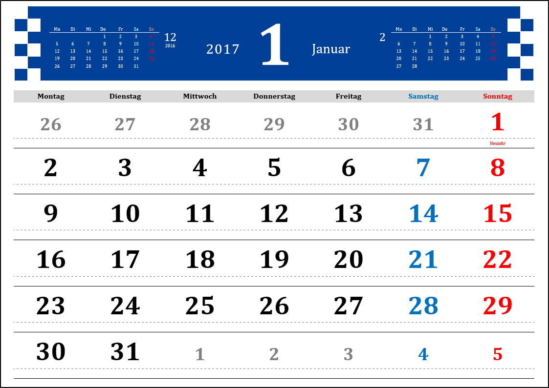 Monatskalender Blau 2017