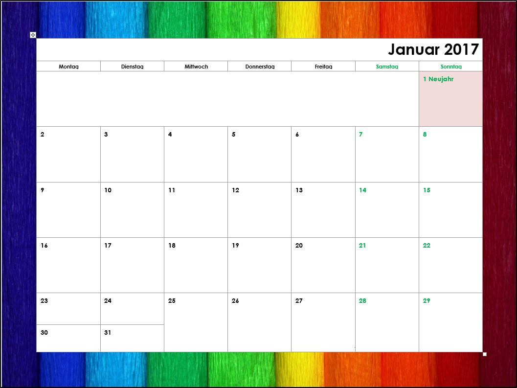 kostenlose kalendervorlagen 2017 office