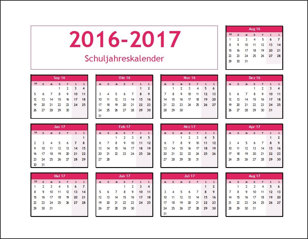 schuljahreskalender pink 2016 2017 schuljahreskalender pink 2016 2017
