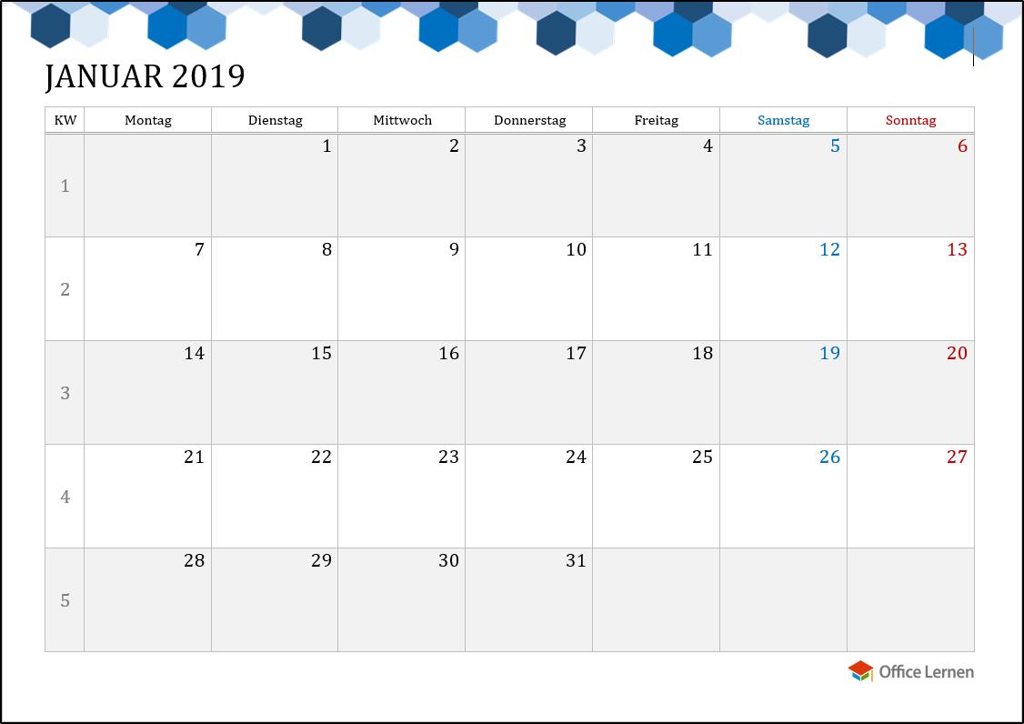 Kostenlose Kalendervorlagen 2019 - Office-Lernen.com