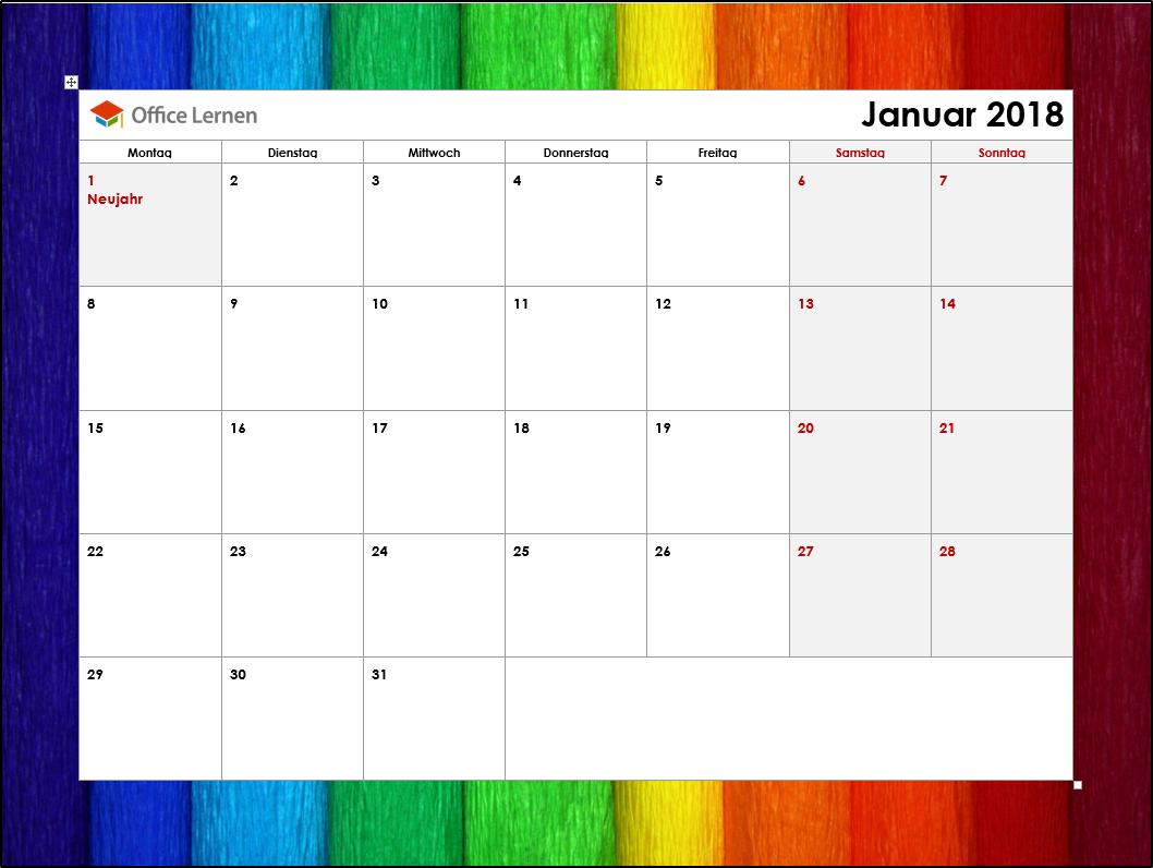 Kostenlose Kalendervorlagen 2018 - Office-Lernen.com