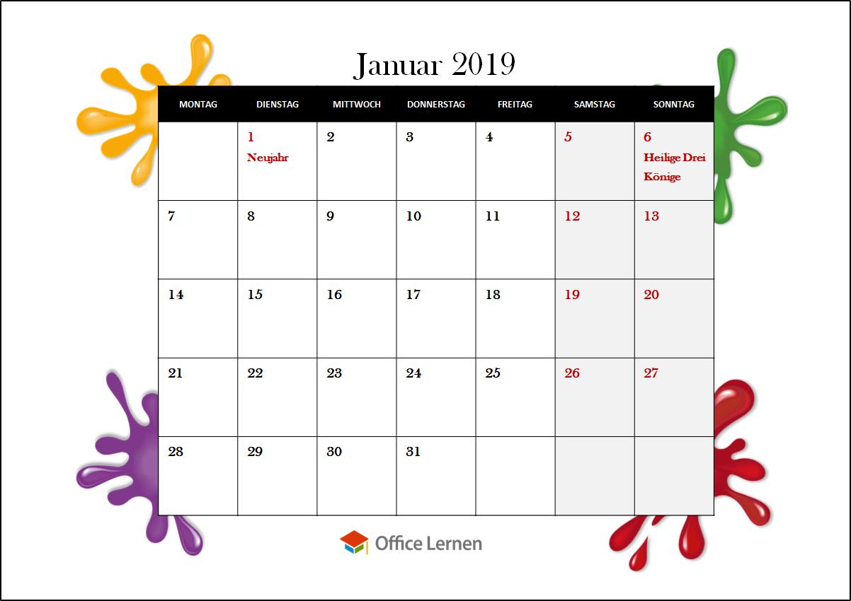 monatskalender 2019 kostenlos