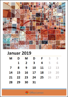 Orange Monatskalender 2019