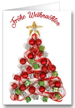 Weihnachtskarte-Geschenke-Rot