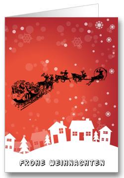 Weihnachtskarte-Schlitten