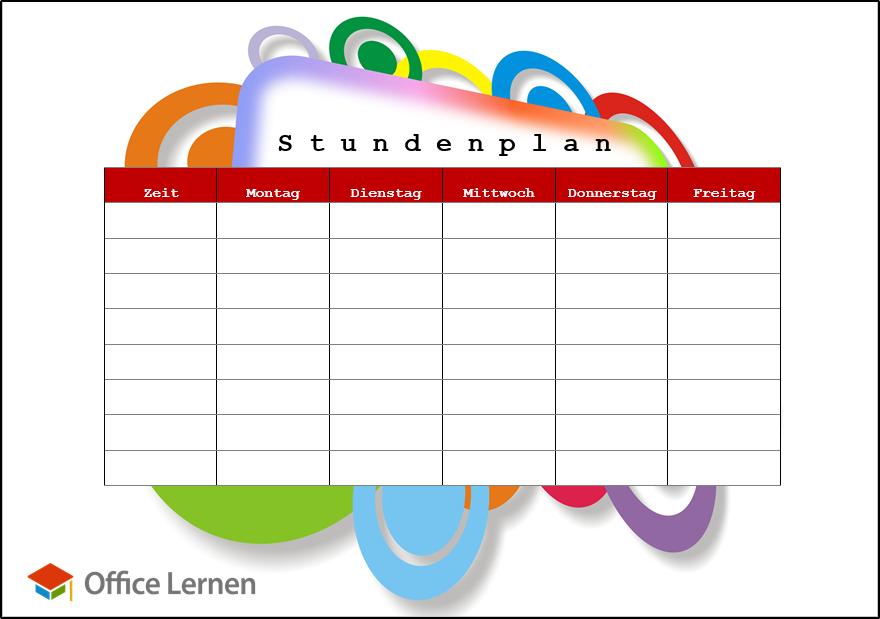 Stundenplan Vorlagen In Word Excel Als Pdfs