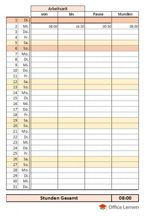 Stundenzettel mit Pause, Gesamtstunden und Jahresübersicht