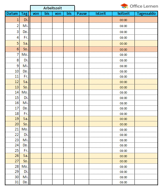 Datev vorlage zur dokumentation der täglichen arbeitszeit 2019