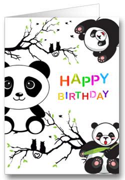 Geburtstagskarte für Kinder Panda