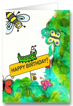 Geburtstagskarte für Kinder Schmetterling
