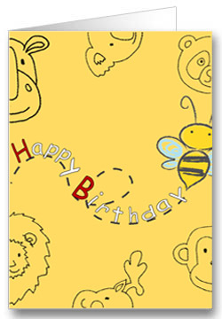 Geburtstagskarte für Kinder Tiere