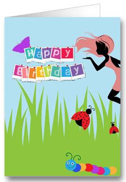 Geburtstagskarte für Kinder Wiese