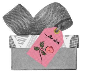 Rose Geschenkanhänger
