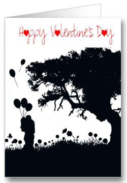 Valentinstagkarte Happy Valentinesday Schwarz