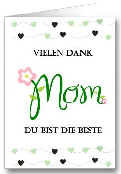 Grußkarte zum Muttertag Herzen Grün