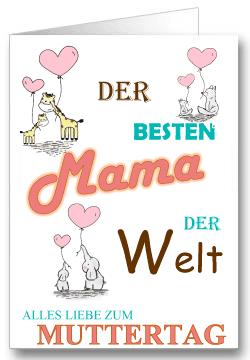 Grußkarte zum Muttertag Tiere mit Herzen