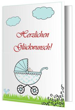 Baby-Grußkarte-Kinderwagen