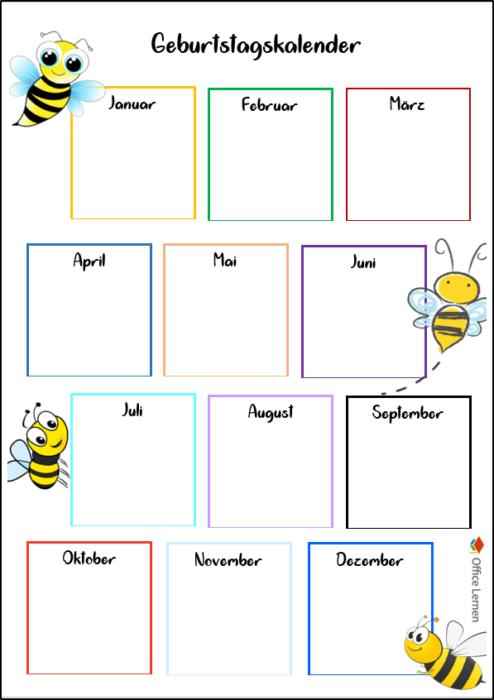 Geburtstagskalender Biene