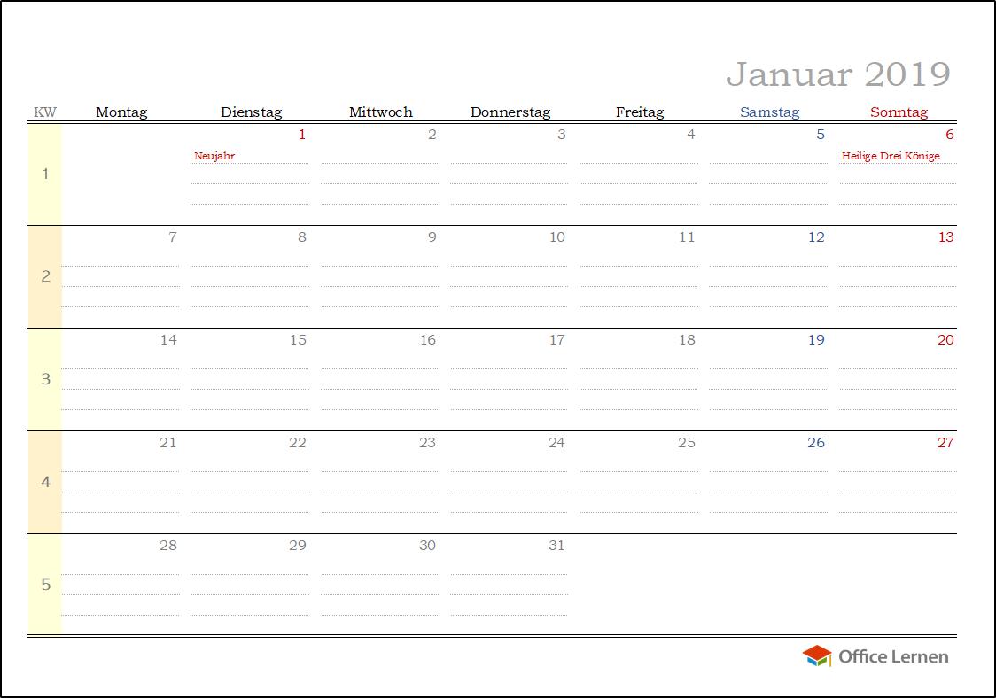 Kostenlose Kalendervorlagen 2019 Office Lernencom