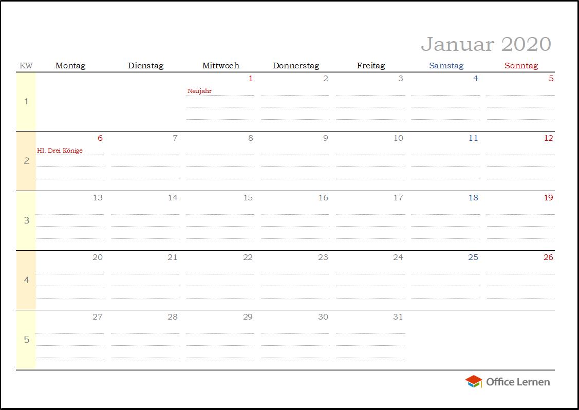 Kostenlose Kalendervorlagen 2020 Office Lernen Com