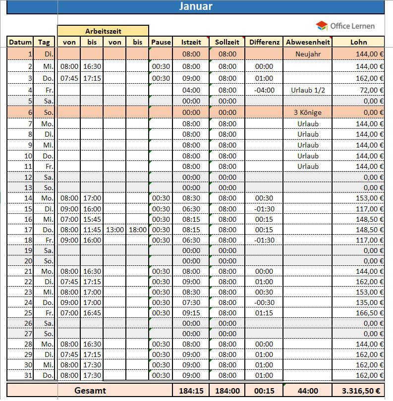 Excel Arbeitszeitnachweis Vorlagen 2020 Excel Stundenzettel