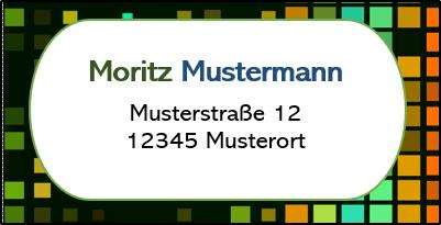 Adressetikett Schwarz-Bunt