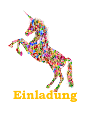 EInladung Einhorn Faltblatt