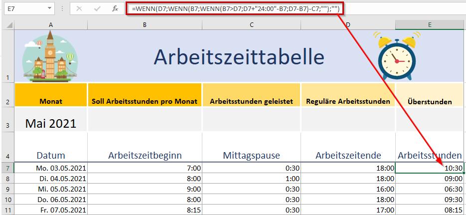 Arbeitsstunden 2021 : Arbeitszeitnachweis 2021 Excel ...