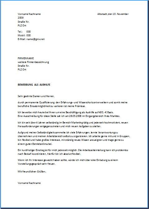 Bewerbungsanschreiben Vorlagen Und Muster