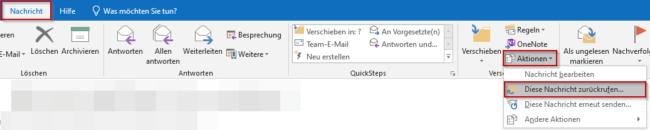 Email zurückrufen