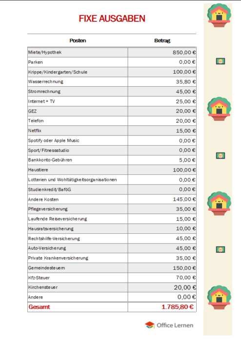 Haushaltsbuch mit Zusammenfassung Fixe Ausgaben