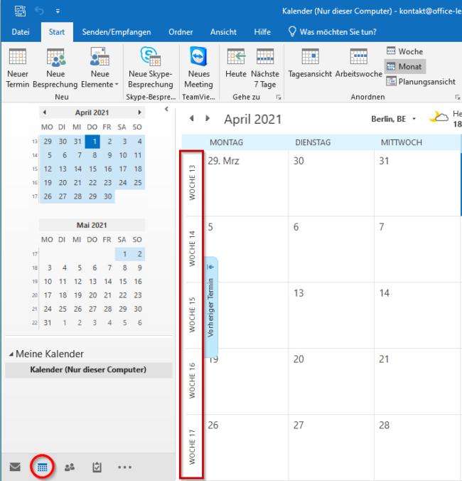 Kalender mit Wochen
