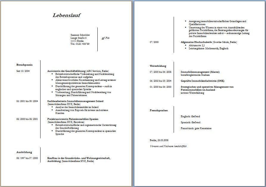 tabellarischer lebenslauf 114 muster vorlagen als gratis download - Lebenslauf Word Download