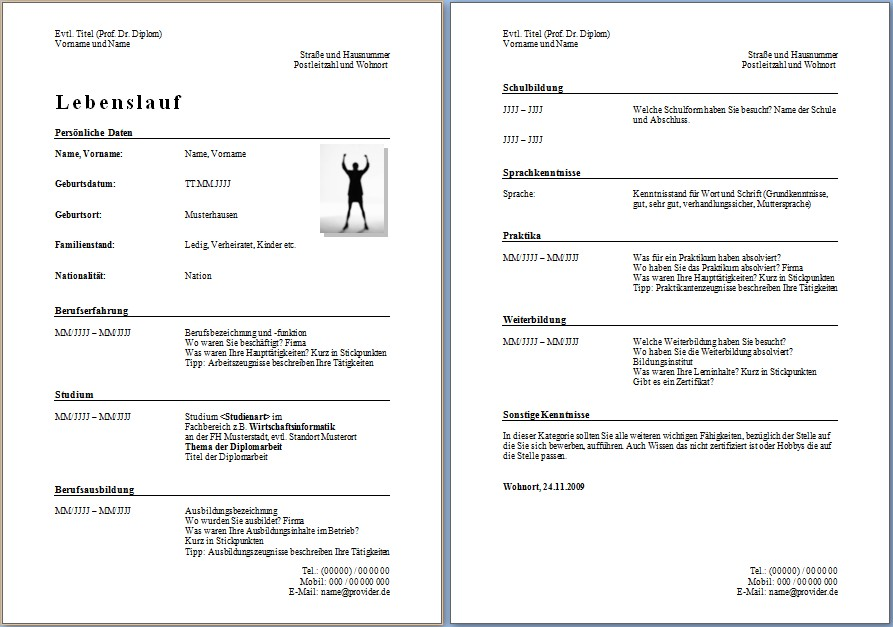 lebenslauf vorlage word - Lebenslauf Muster Download