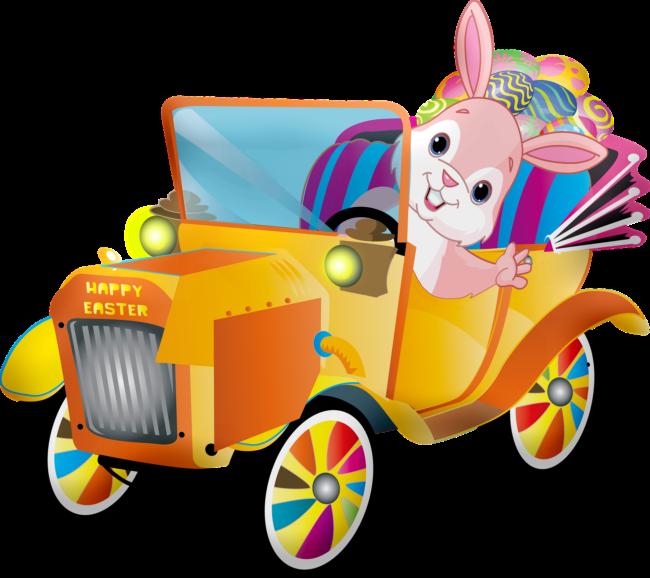Osterhase mit Auto