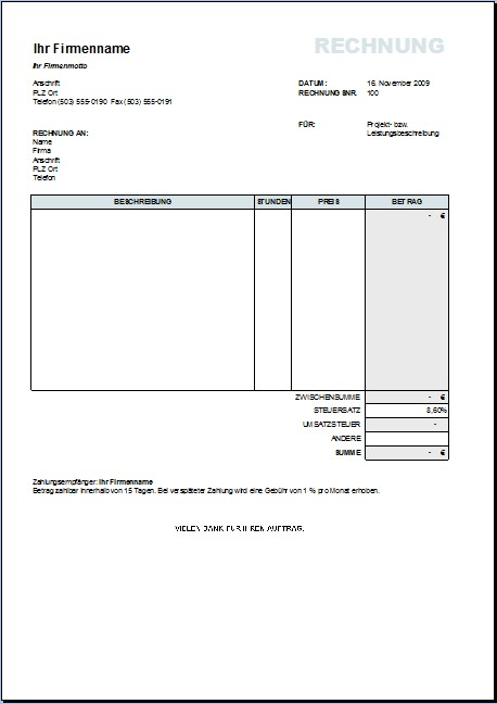 Dienstleistung Rechnung 10 Rechnung R Dienstleistung Ark Mipa